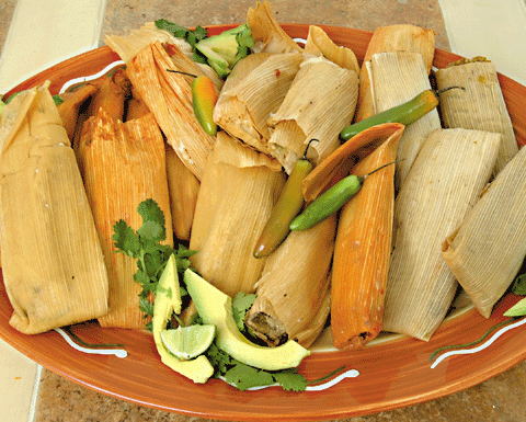 PORK TAMALES WITH RED CHILE